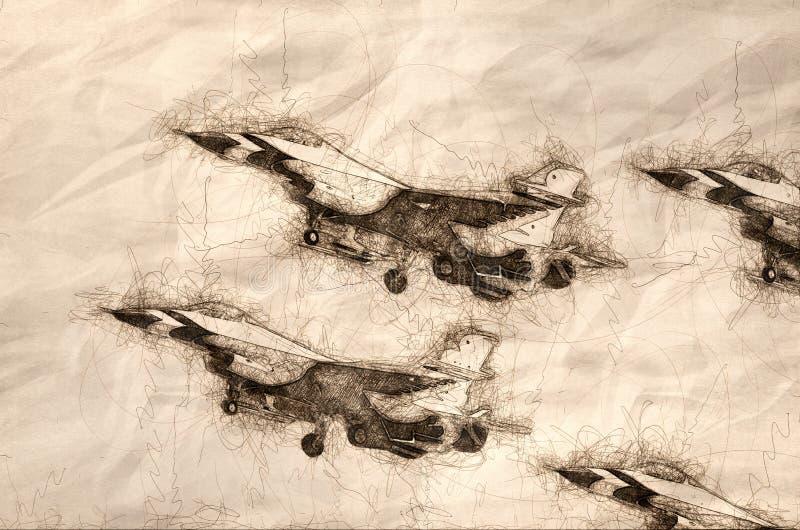 四台军事喷气式歼击机飞行的剪影在紧的形成的 向量例证
