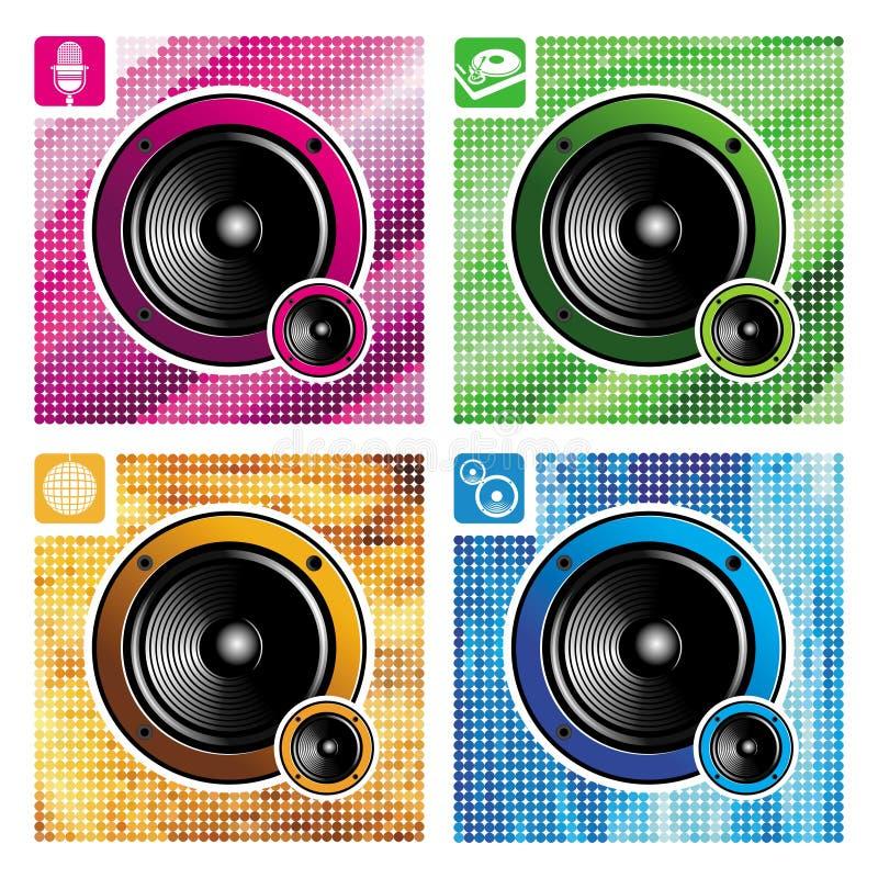 四台扩音器 向量例证