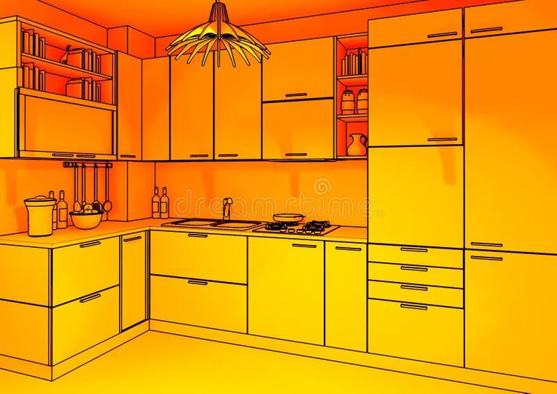 四周背景厨房 免版税库存图片