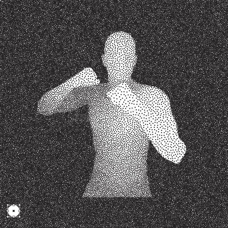 四四方方的 战斗的人 3D人模型  黑白粒状设计 点刻作用 库存例证