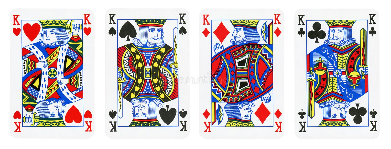 四国王在白色-隔绝的纸牌 图库摄影
