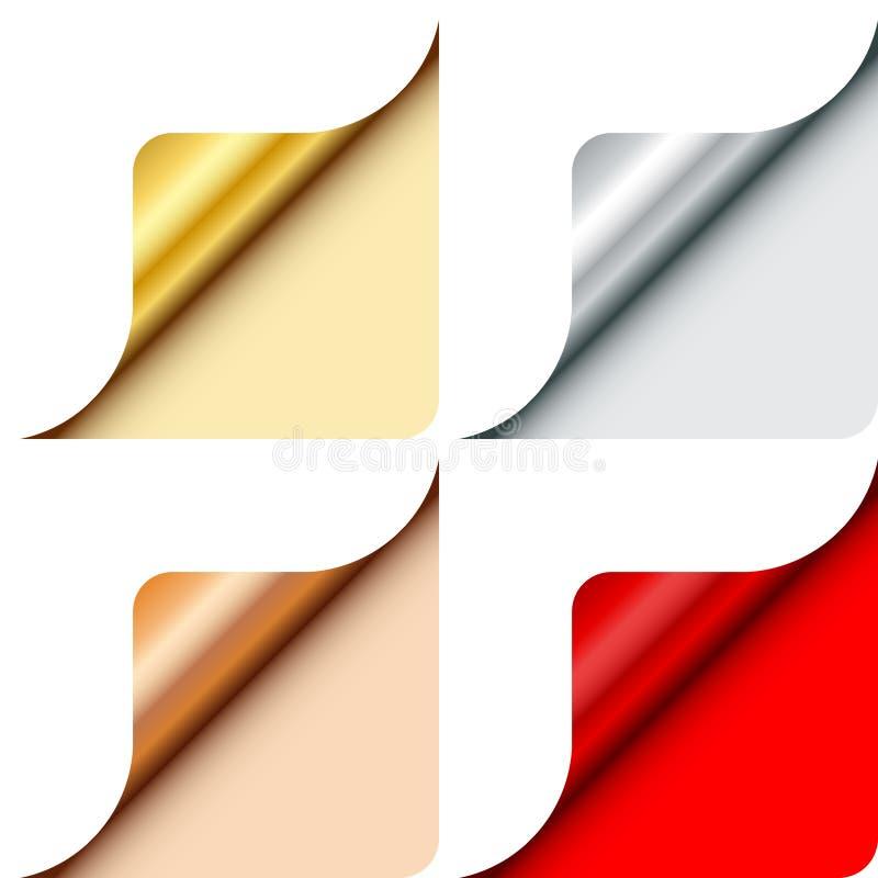 四圆角落金属金子银色古铜色红色下面权利 库存例证