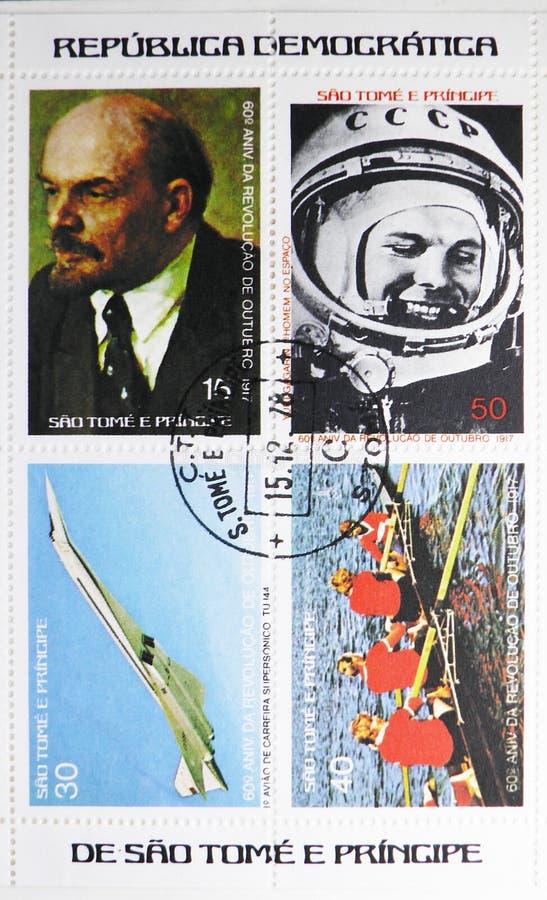 四在圣多美和普林西比打印的邮票致力了于十月革命的第60周年,serie,大约1977年 免版税库存图片