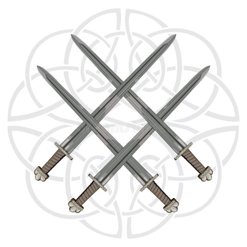 四在斯堪的纳维亚样式的背景中横渡了北欧海盗剑和在诗歌的题字在冰岛语 库存例证