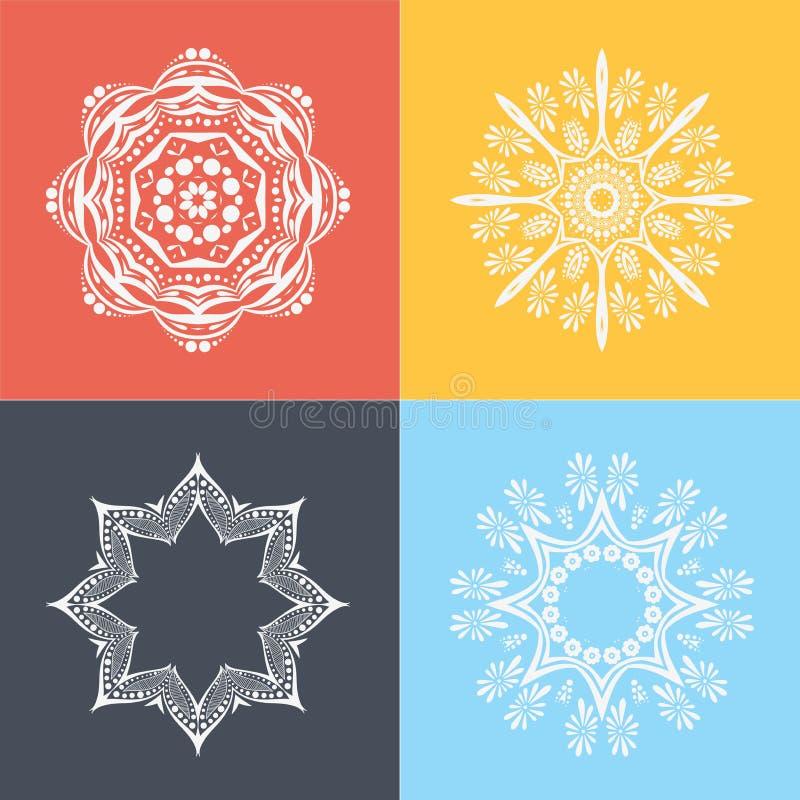 四在色的背景的美丽的圆装饰品 坛场 风格化花 回教,阿拉伯语,印地安人,无背长椅主题 库存例证