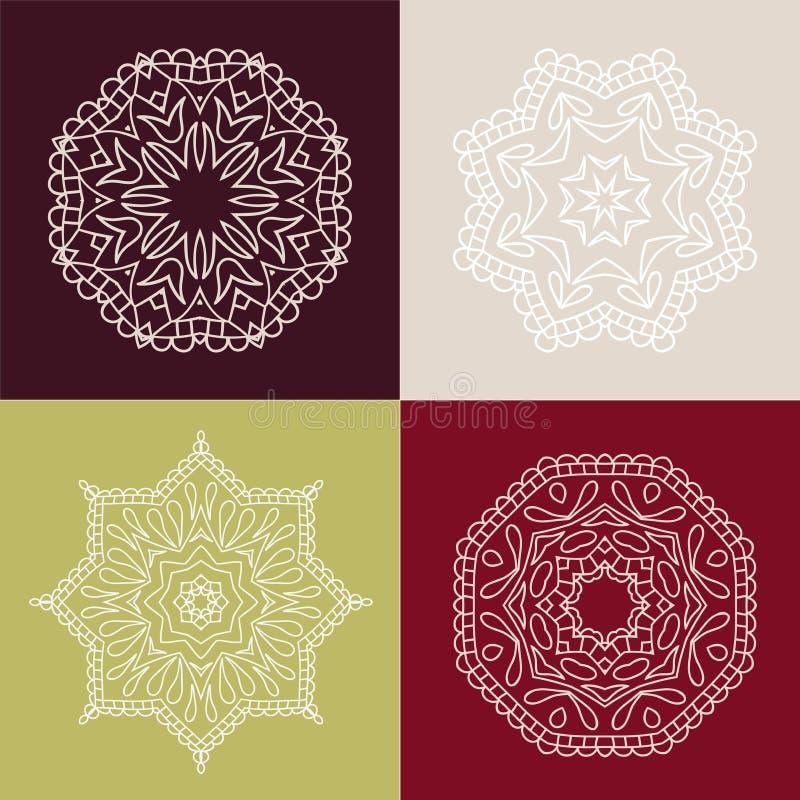 四在色的背景的美丽的圆装饰品 坛场 风格化花 装饰要素葡萄酒 皇族释放例证