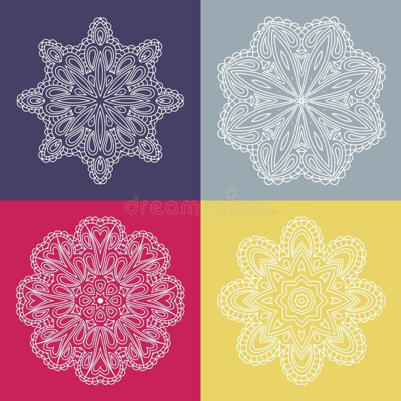 四在色的背景的美丽的圆装饰品 坛场 风格化花 装饰要素葡萄酒 向量例证