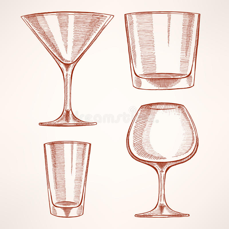 四块手拉的酒精玻璃 库存例证