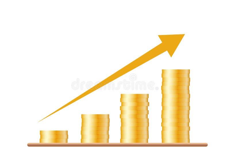 四堆与一张生长图, isol的箭头的金币 向量例证