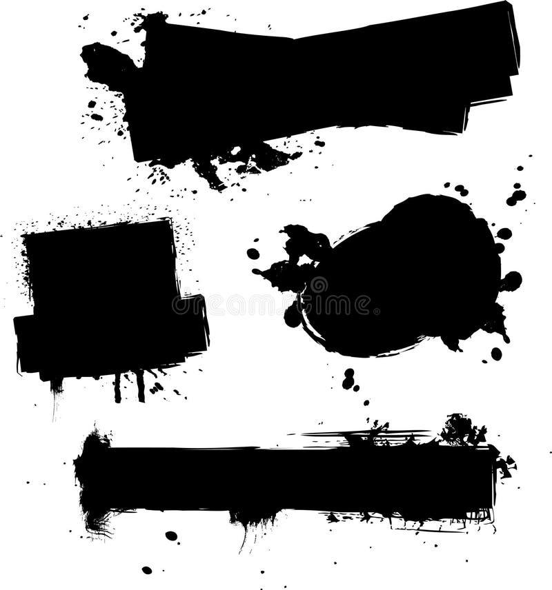 四墨水splat 向量例证