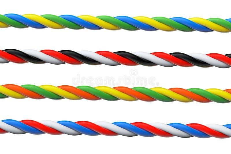 四多彩多姿的计算机缆绳 库存图片