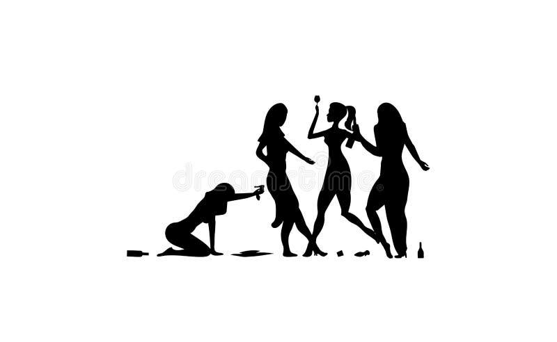四女孩,妇女,夫人喝 醉酒的人民,醉了党事件,导航剪影象,标志,在白色背景的例证 皇族释放例证