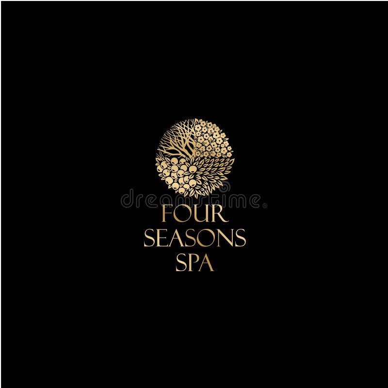 四季商标 温泉和手段象征 一个美好的金黄商标喜欢与分支、叶子和果子的一棵树 向量例证