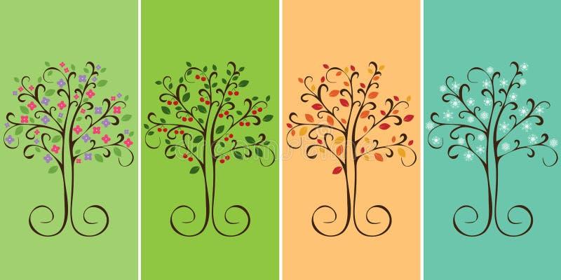 四季结构树 皇族释放例证