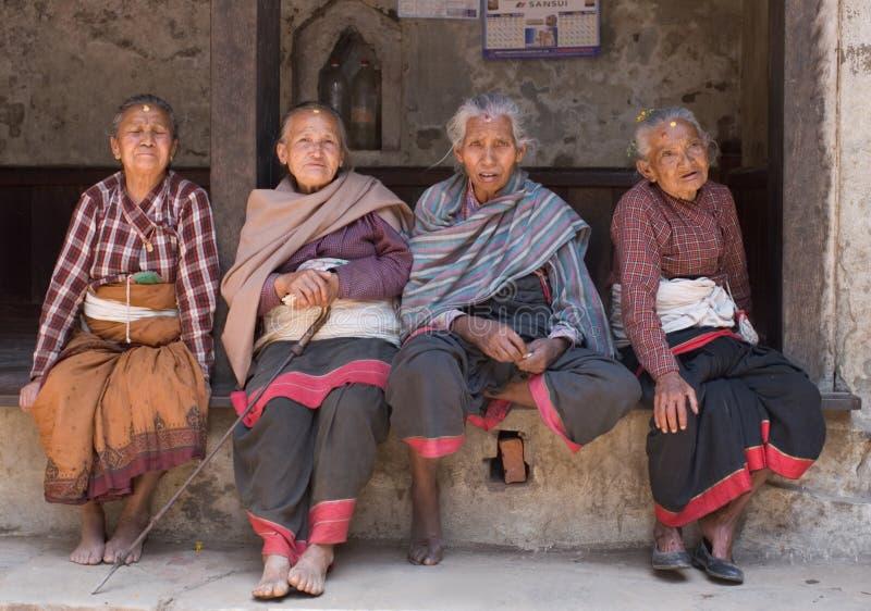 四尼泊尔老妇人 免版税库存图片