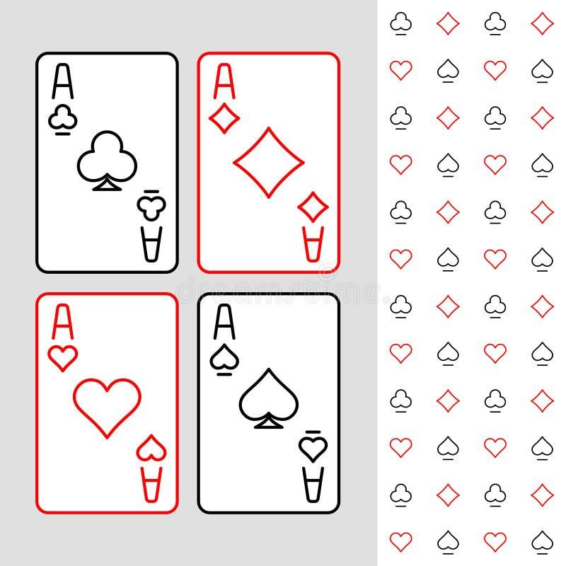 四张一点纸牌最小的线性样式例证 库存例证