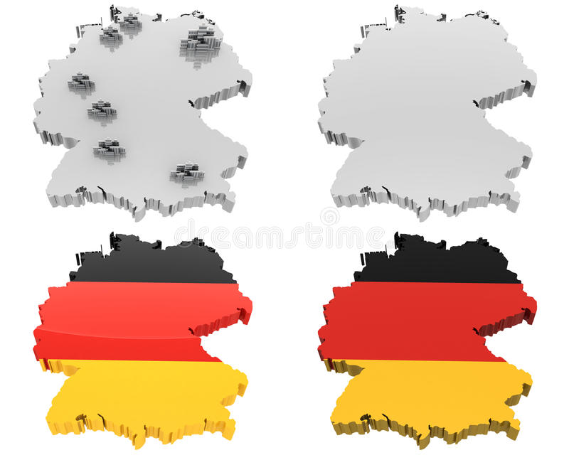 四张视图映射,德国 库存例证