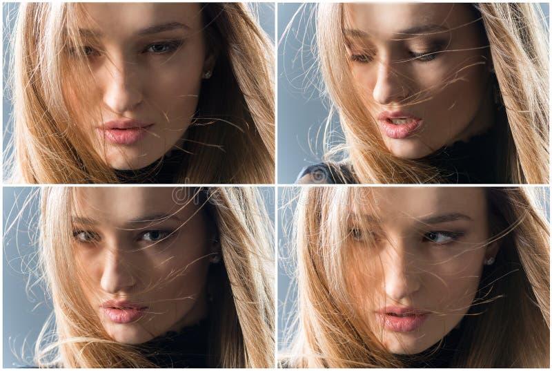 四情感在四秒 库存照片