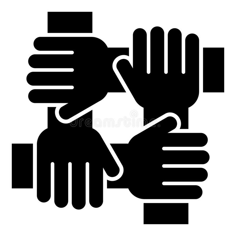 四手相连的队工作概念象黑色彩色插图平的样式简单的图象 皇族释放例证