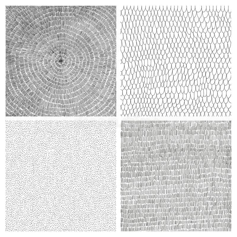 四手被画的传染媒介背景的汇集 免版税库存图片