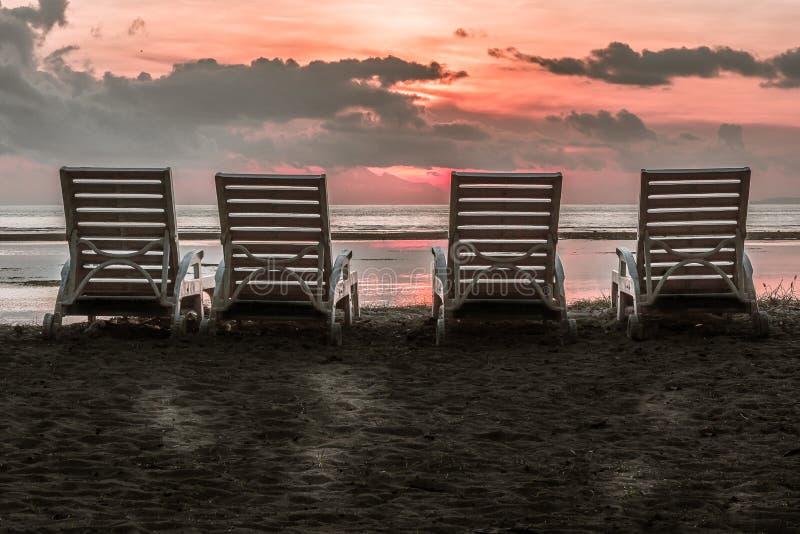 四把椅子后侧方接近海滩的在热带s 免版税库存照片