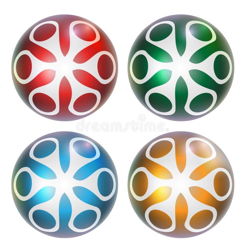 四抽象球 向量例证