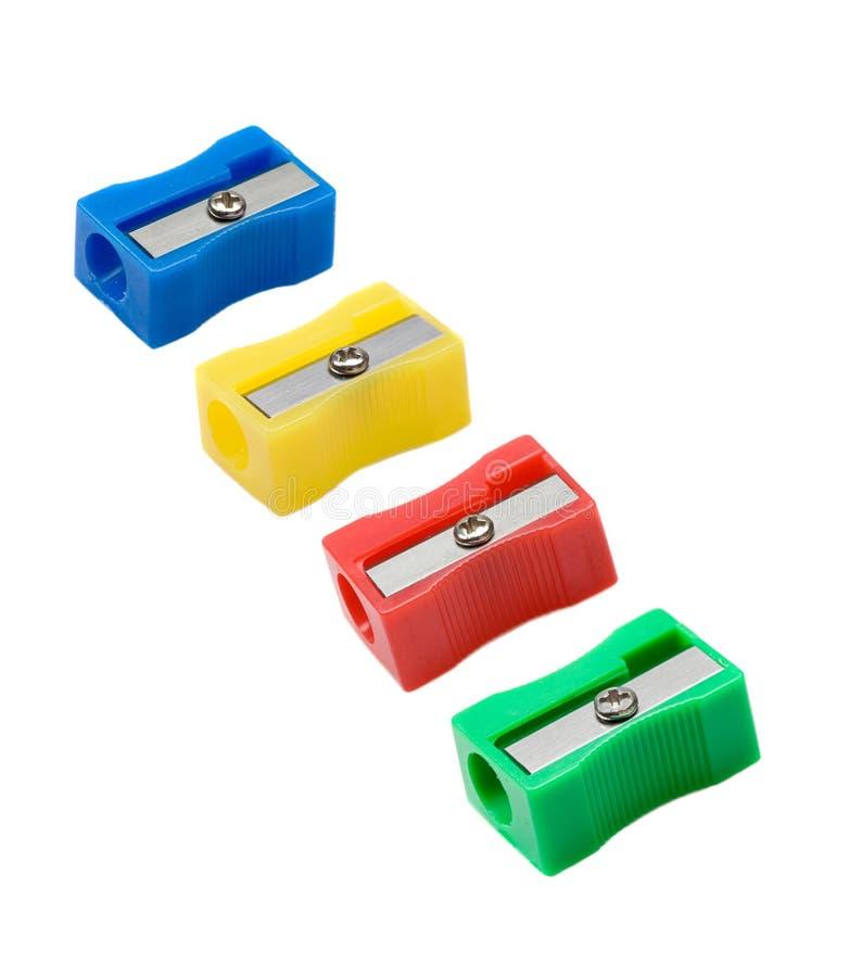 四有differents颜色的铅笔刀 库存图片