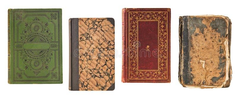 四本葡萄酒旧书在白色背景隔绝的书套 库存照片