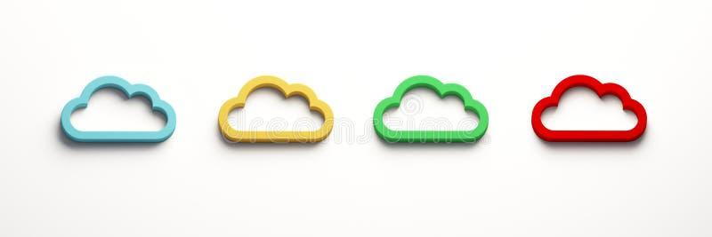 四朵云彩计算的商标 截去容易的编辑文件例证的3d包括了路径翻译 皇族释放例证