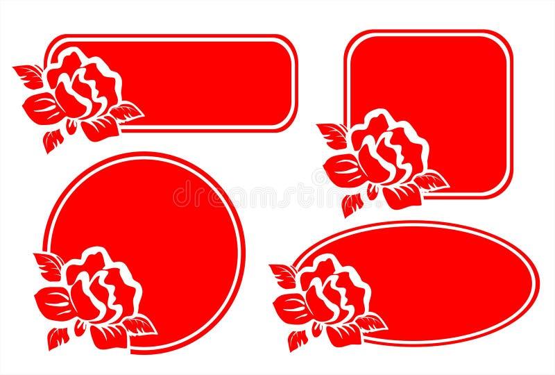四朵框架玫瑰 免版税库存图片
