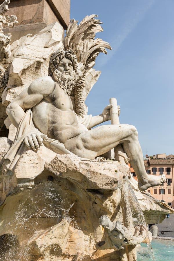 四条河喷泉在Navona广场 免版税库存图片