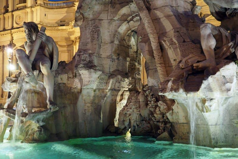 四条河的喷泉在纳沃纳广场在罗马,意大利 免版税库存照片