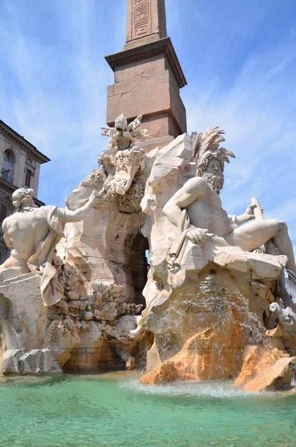 四条河的美丽的喷泉纳沃纳广场的在罗马,意大利 免版税库存照片