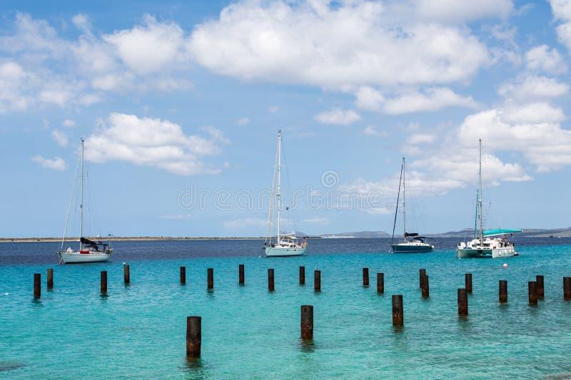 四条风船在伯利兹 库存照片