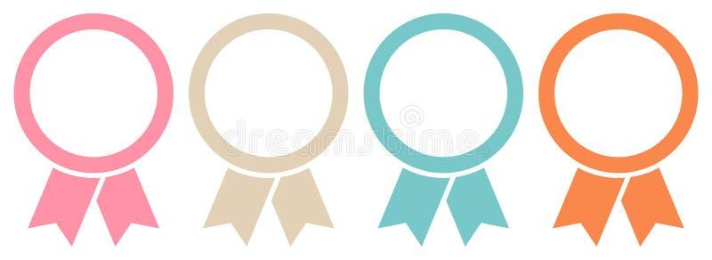 四枚圆的图表奖徽章构筑减速火箭的颜色 向量例证