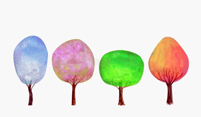 四棵季节冬天春天夏天秋天蓝色桃红色绿金树设置了水彩背景 向量例证