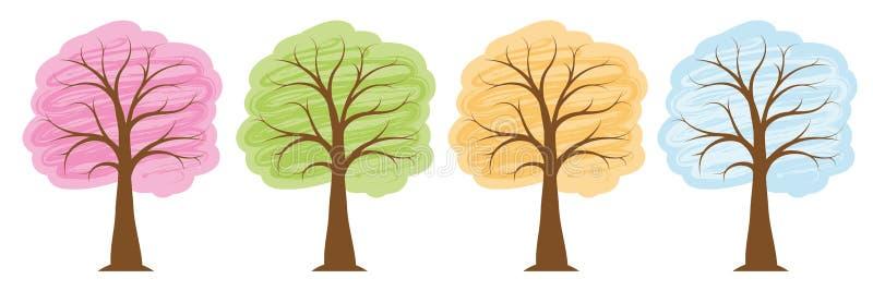 四棵季节树在明亮的颜色春天夏天秋天冬天 库存例证