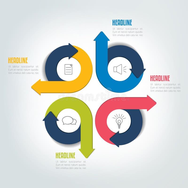 四步盘旋箭头infographic计划,模板,图,图,模块 向量例证