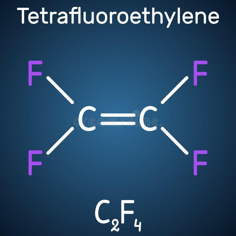 四氟乙烯或TFE分子,是聚四氟乙烯或PTFE单体  它属于碳氟化合物家庭  库存例证