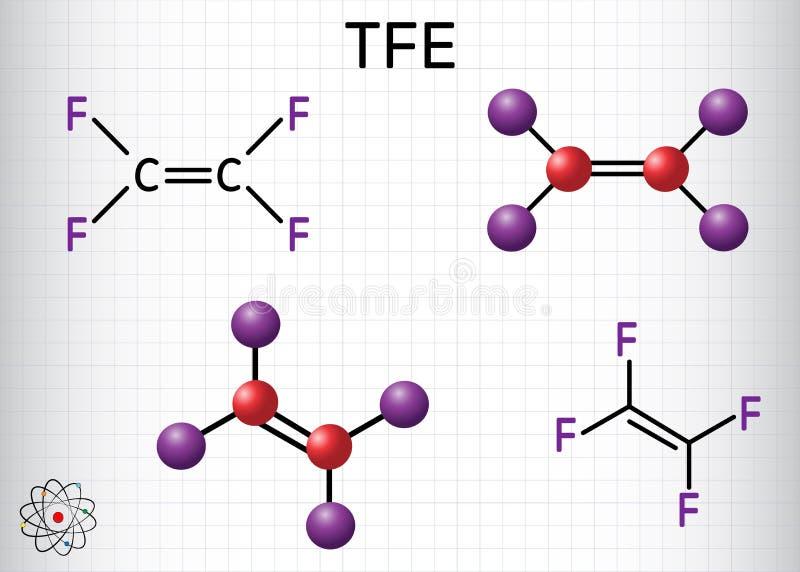 四氟乙烯或TFE分子,是聚四氟乙烯或PTFE单体  它属于碳氟化合物家庭  皇族释放例证