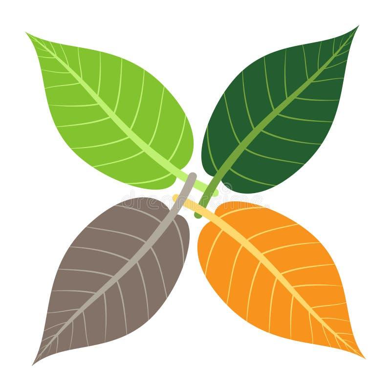 四片叶子,季节概念 向量例证