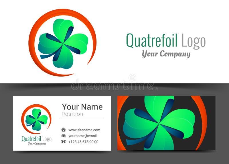 四片叶子绿色三叶草幸运的Quatrefoil好运公司商标 向量例证