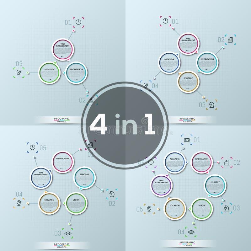 四现代infographic设计版面,在中心附近被安置的3个, 4个, 5个, 6个圆的元素的汇集和继续地 向量例证