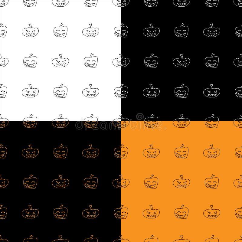 四种无缝模式集 万圣南瓜 万圣节南瓜手绘无缝轮廓 10月收获 库存例证