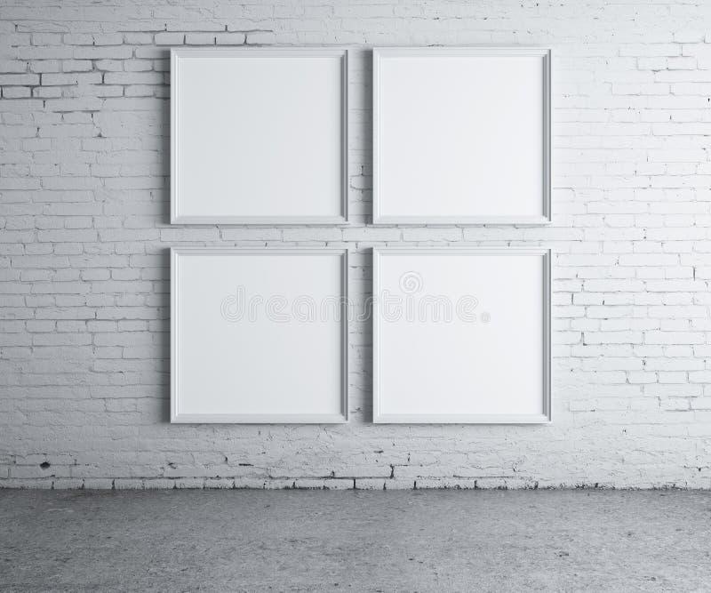 四空白框架 免版税库存照片