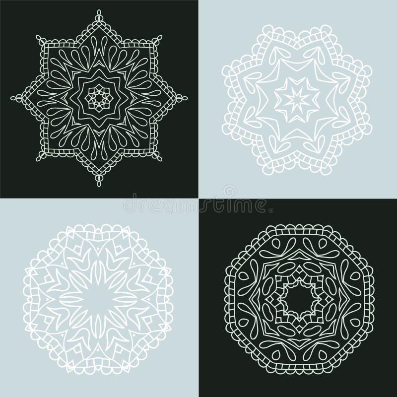 四美丽的圆装饰品 坛场 装饰要素葡萄酒 回教,阿拉伯语,印地安人,无背长椅主题 库存例证