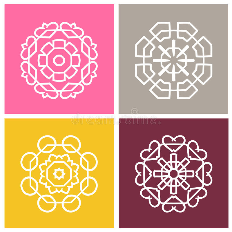 四美丽的圆装饰品 坛场 风格化花 徽标被设置的向量 库存例证