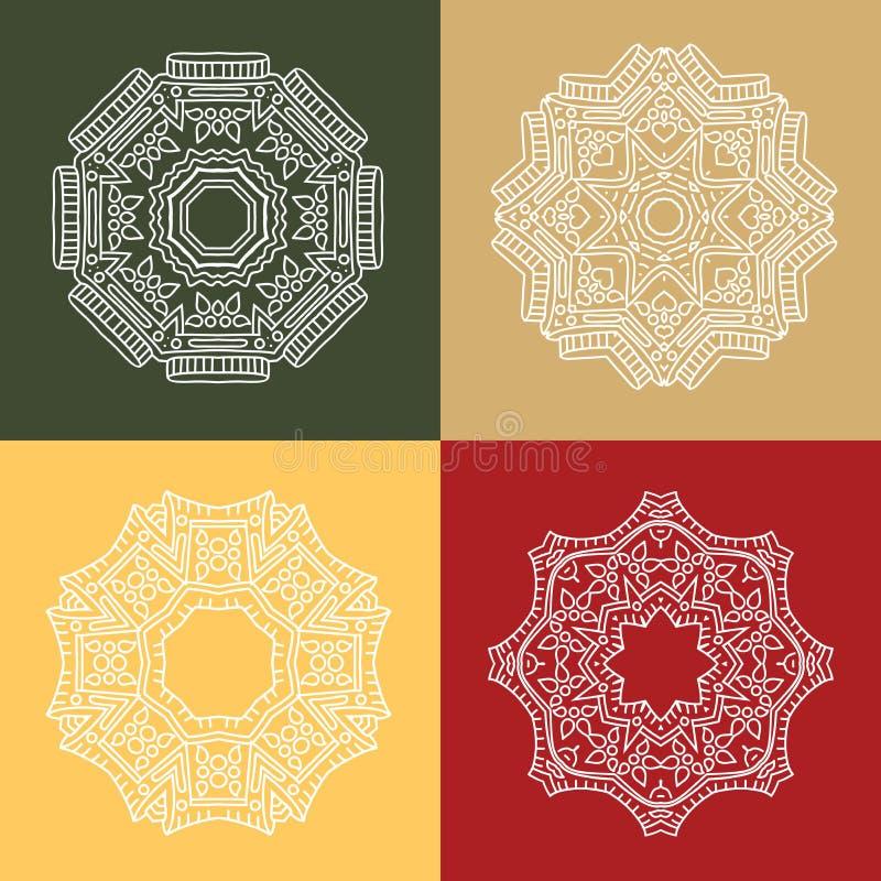 四美丽的白色圆装饰品 坛场 葡萄酒风格化花 皇族释放例证