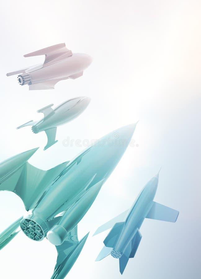 四艘减速火箭的太空飞船样式 向量例证