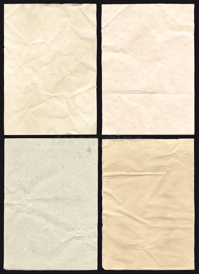 四被弄皱的纸纹理 库存例证